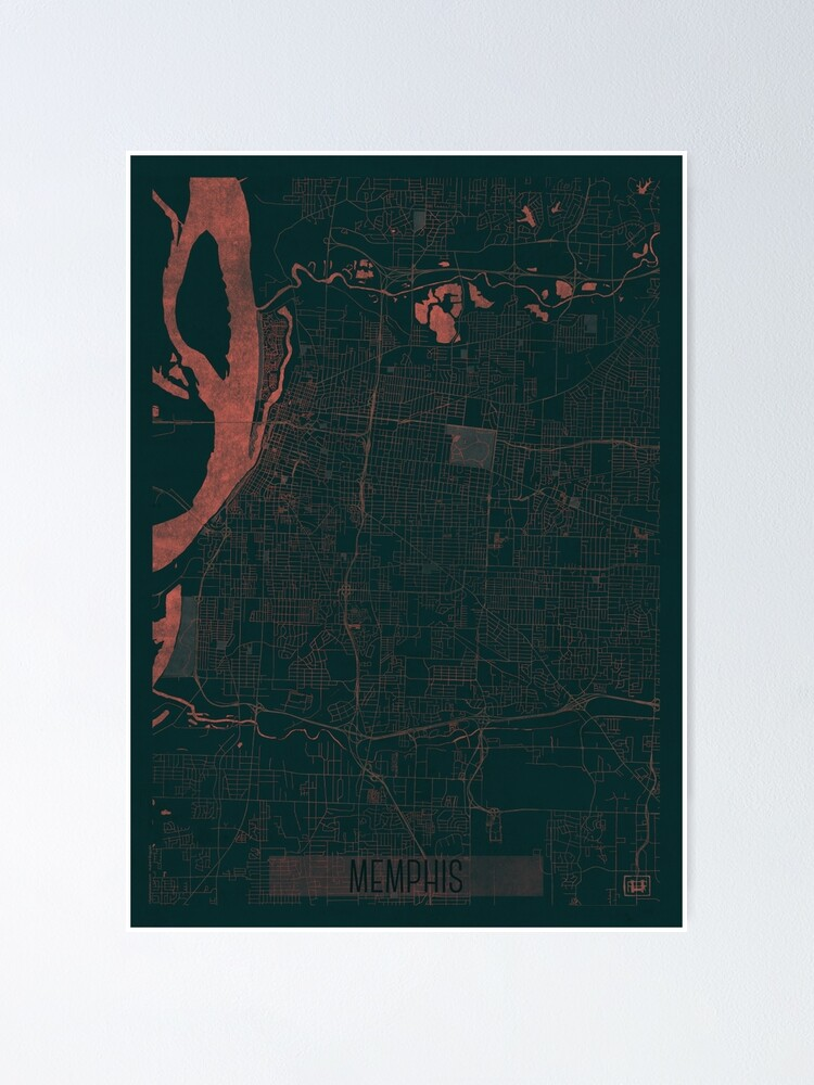 Alternate view of Memphis Map Red Poster