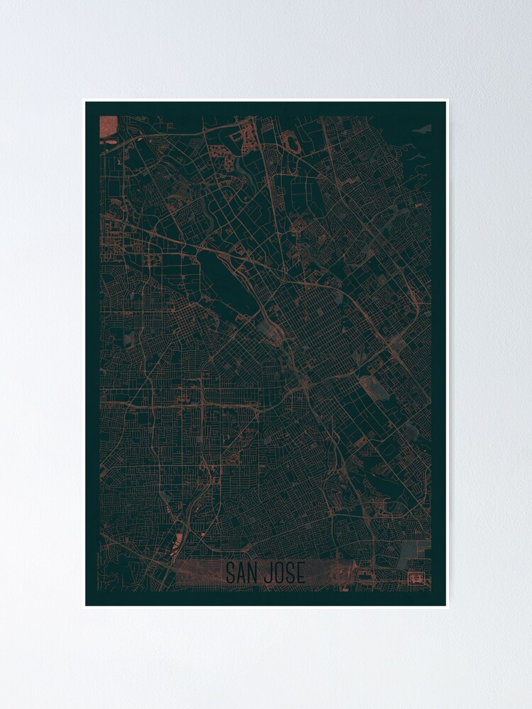 Alternate view of San Jose Map Red Poster