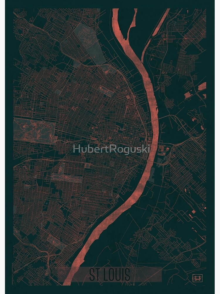St Louis Map Red by HubertRoguski