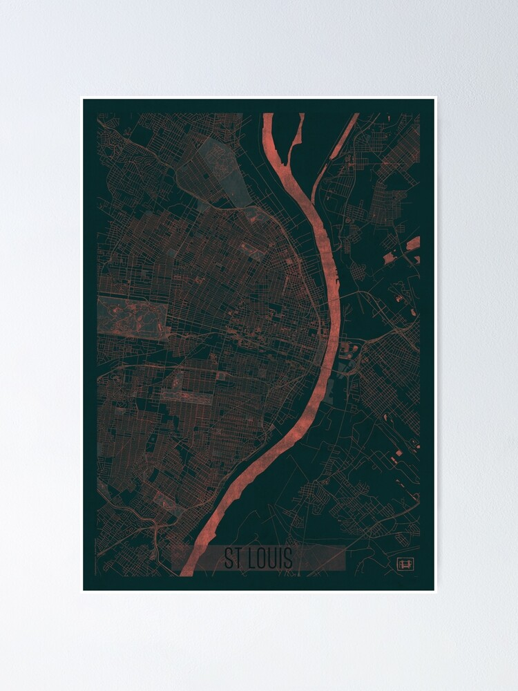 Alternate view of St Louis Map Red Poster