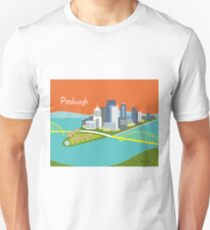 Pittsburgh, Pennsylvania - Skyline Illustration by Loose Petals Unisex T-Shirt
