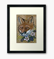 Neotraditional Fox with Blackberries  Framed Print