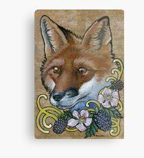 Neotraditional Fox with Blackberries  Metal Print