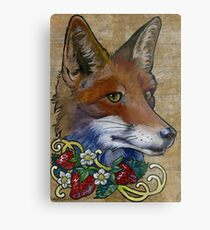 Neotraditional Fox with Strawberries Metal Print