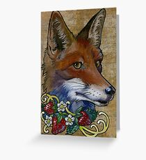 Neotraditional Fox with Strawberries Greeting Card