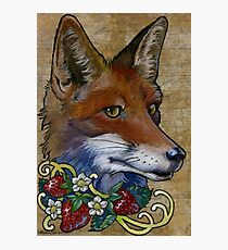 Neotraditional Fox with Strawberries Photographic Print