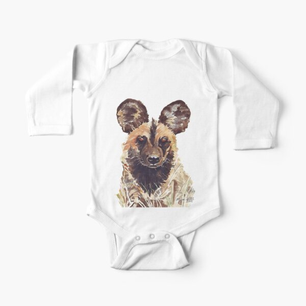African Wild Dog Long Sleeve Baby One-Piece