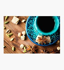 Hot drink with spices in authentic eastern arabic dish Photographic Print