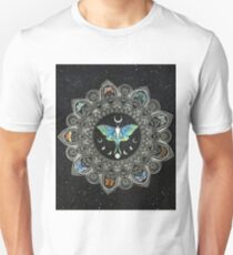 Lunar Moth Mandala with Background Unisex T-Shirt
