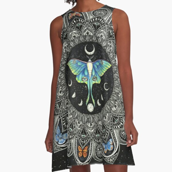 Lunar Moth Mandala with Background A-Line Dress