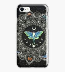 Lunar Moth Mandala with Background iPhone Case/Skin