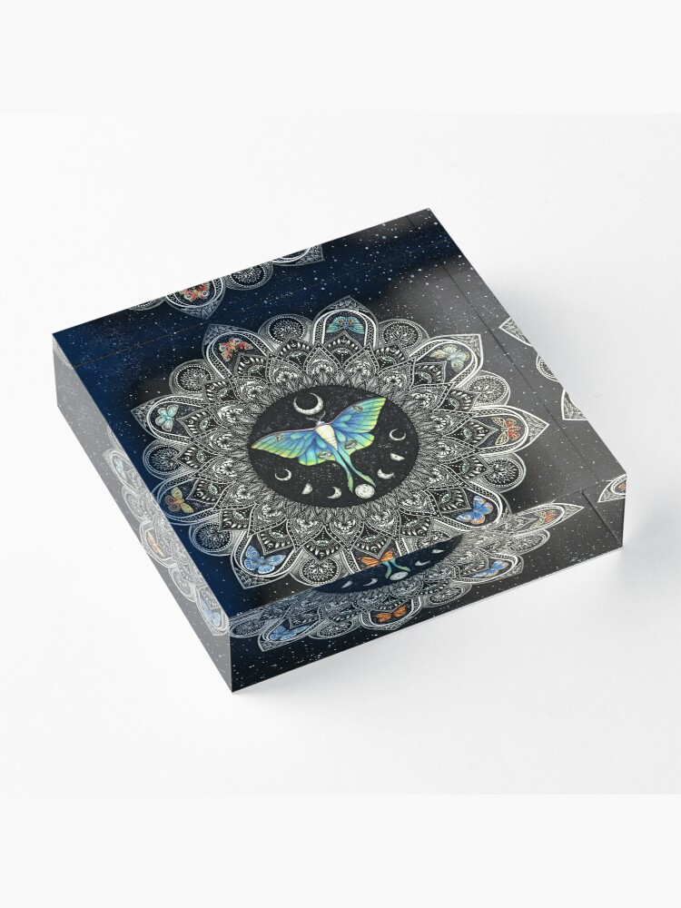 Alternate view of Lunar Moth Mandala with Background Acrylic Block