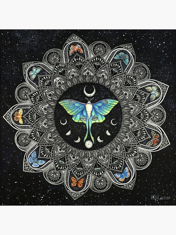 Lunar Moth Mandala with Background by BriLazar