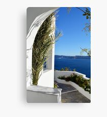 White architecture and vegetation in Santorini  Greece Canvas Print
