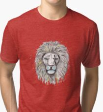 Cool hand drawn sketch and watercolor Lion design Tri-blend T-Shirt