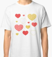 Red & Gold Hearts Classic T-Shirt