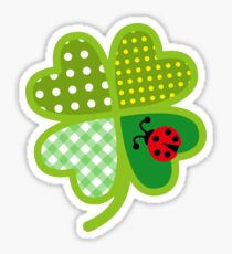 Colorful Four Leaf Clover St. Patrick Good Luck Artistic  Sticker