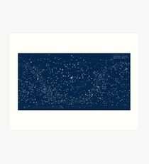 Dark Blue Star Map Art Print