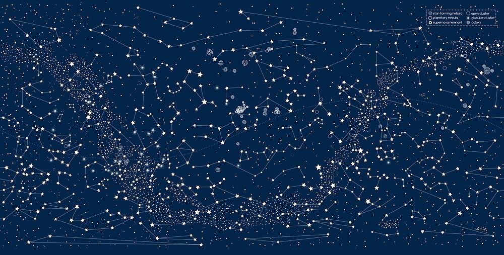 Dark Blue Star Map by Emery Smith
