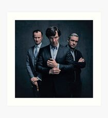 Sherlock, John and Mycroft - Season 4 Art Print