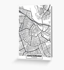 Vector poster map city Amsterdam Greeting Card