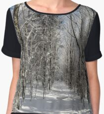 Winter forest with frozen trees majestic view. Winter in nature. Picturesque and gorgeous wintry scene. Alsace, France Women's Chiffon Top