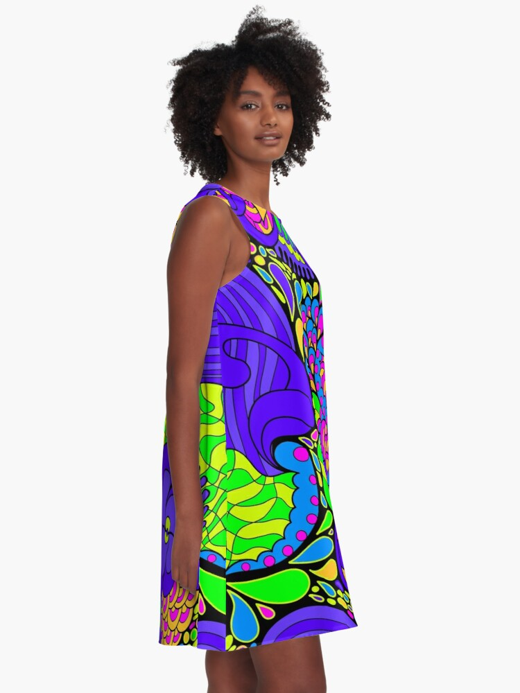 Alternate view of 60s hippie psychedelic pattern A-Line Dress