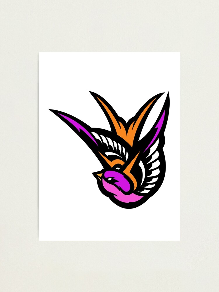 pink swallow logo photographic print by jamesshannon redbubble redbubble