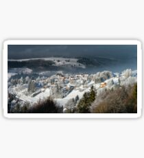 Aerial panoramic view of the little village in mountains. Winter with snow and frost. Picturesque and gorgeous wintry scene. Alsace, France. Sticker