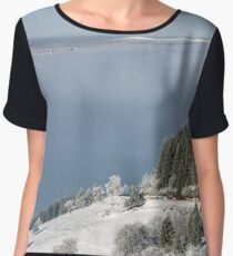 Aerial winter mountains panoramic view. Picturesque and gorgeous wintry scene. Alsace, France.  Frozen trees. Women's Chiffon Top