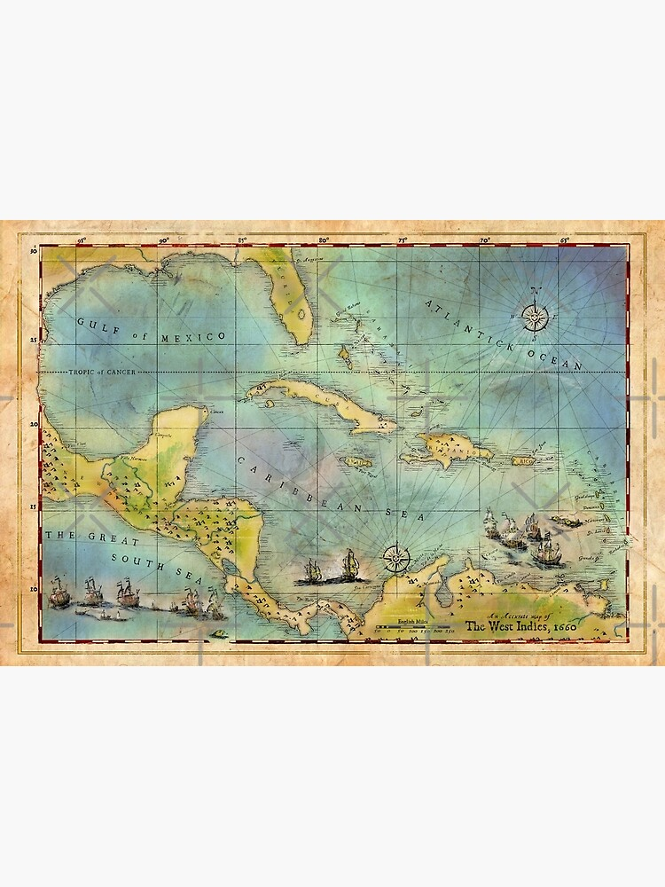 Caribbean Pirate + Treasure Map 1660 by forge22