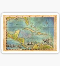 Caribbean Pirate + Treasure Map 1660 Sticker