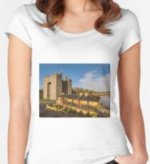 Aerial Bunratty Castle and Durty Nelly's Irish Pub Women's Fitted Scoop T-Shirt