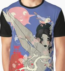 Geisha with birds Graphic T-Shirt