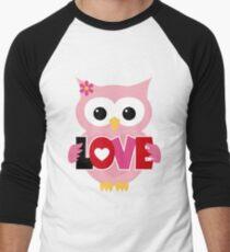 Adorable Valentine Owl Men's Baseball ¾ T-Shirt
