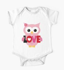 Adorable Valentine Owl One Piece - Short Sleeve