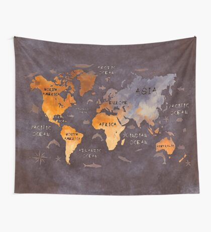 world map 51 brown Wall Tapestry
