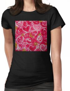Pink Hearts Roses Valentines Day Love Flowers Passion Bright Happy Fun Lover Wife Mother Girlfriend Gift Beautiful Colorful Bold Bright  Womens Fitted T-Shirt