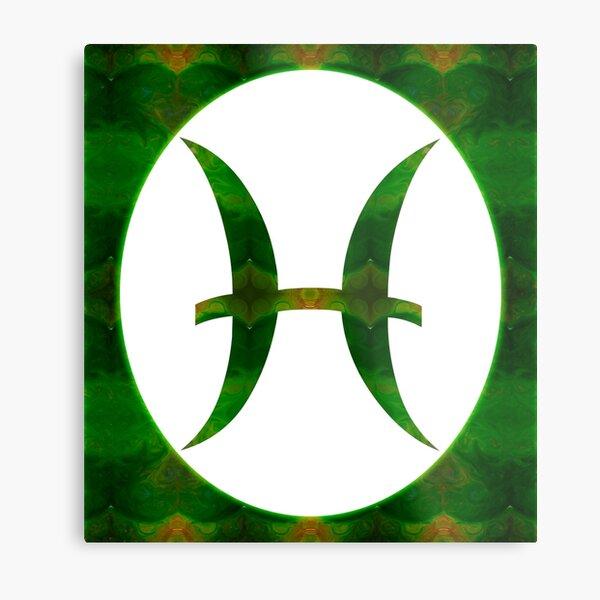 Pices Symbol and Heart Chakra Abstract Spiritual Artwork  Metal Print