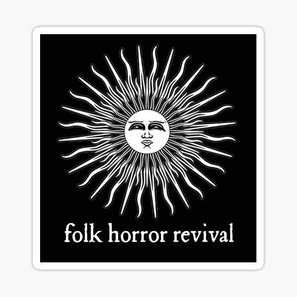 Folk Horror Revival logo original. white on black Sticker