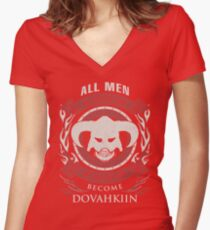 ONLY THE BEST BECOME DOVAHKIIN Women's Fitted V-Neck T-Shirt