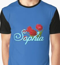 Sophia with Red Tulips Graphic T-Shirt