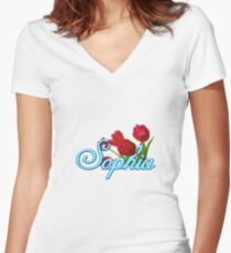 Sophia with Red Tulips Women's Fitted V-Neck T-Shirt