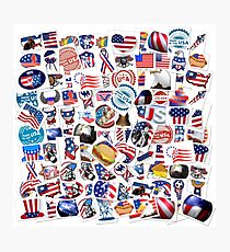 USA Patriot Stamp Collage Photographic Print