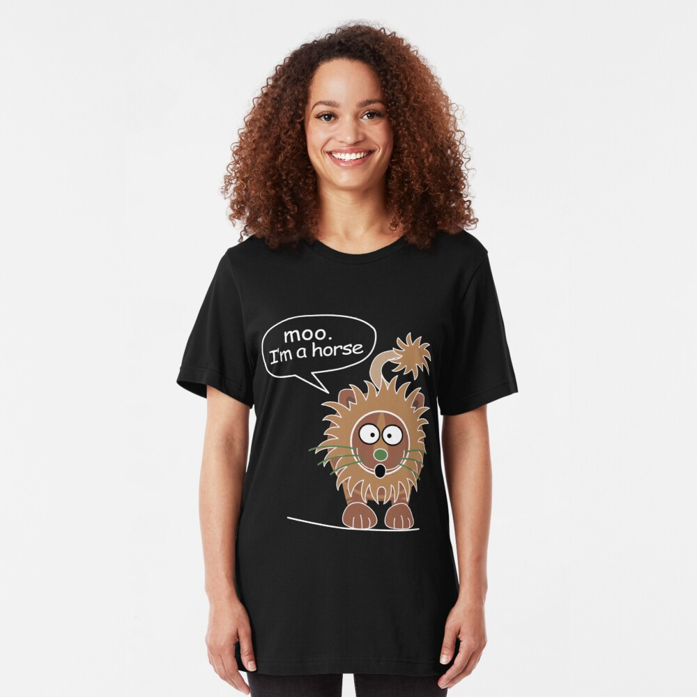 Moo. I'm a horse Slim Fit T-Shirt