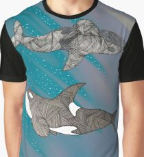 Contrasting Galaxy Orcas Graphic T-Shirt