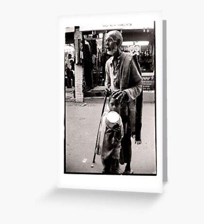 Blind Man and boy Greeting Card