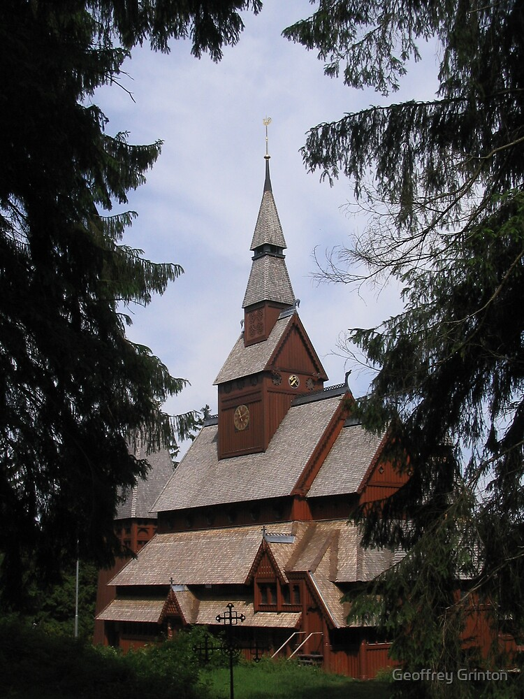 Stave church in Hahnenklee, Germany by Geoffrey Grinton