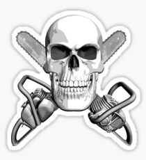 Skull and Chainsaws Sticker