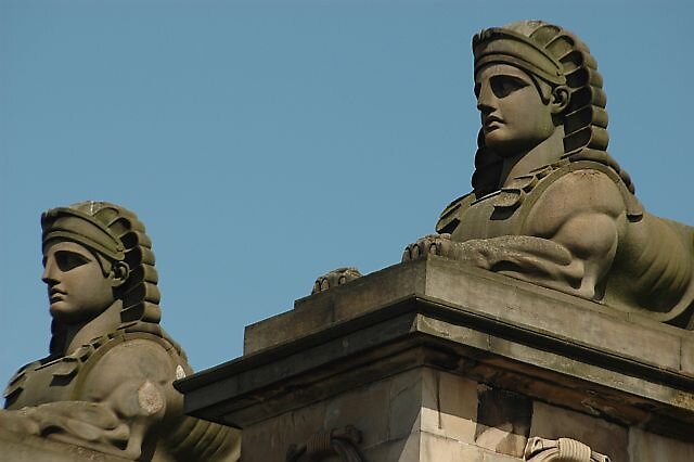 Sphinx statues Edinburgh Scottland by Brennen Cole